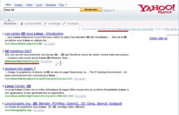 linux 3d et yahoo